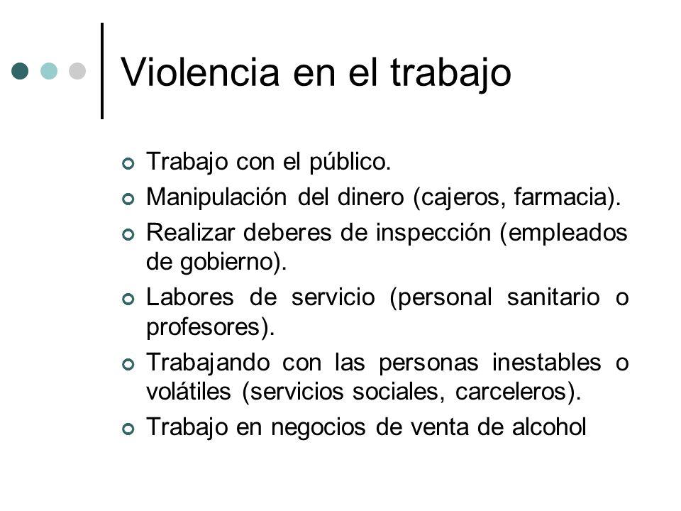 Violencia en el trabajo Trabajo con el público. Manipulación del dinero (cajeros, farmacia). Realizar deberes de inspección (empleados de gobierno). L