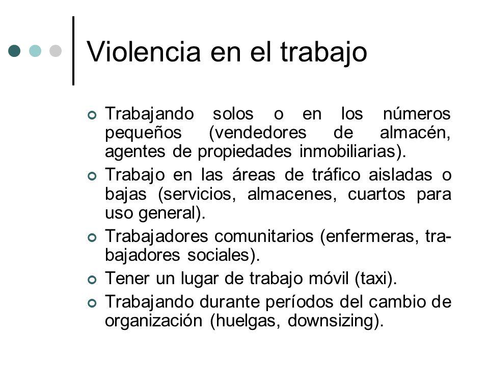 Violencia en el trabajo Trabajando solos o en los números pequeños (vendedores de almacén, agentes de propiedades inmobiliarias). Trabajo en las áreas