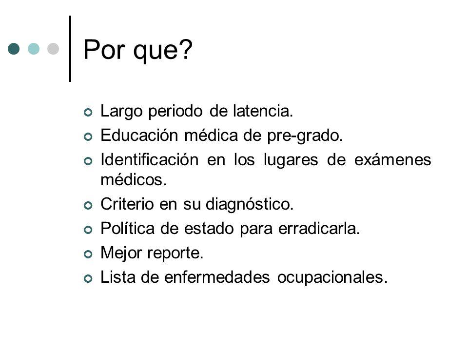 Lista La enfermedad ocupacional es un término legal y no médico.
