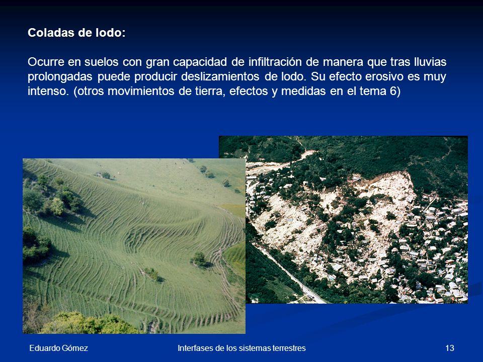 Eduardo Gómez 13Interfases de los sistemas terrestres Coladas de lodo: Ocurre en suelos con gran capacidad de infiltración de manera que tras lluvias