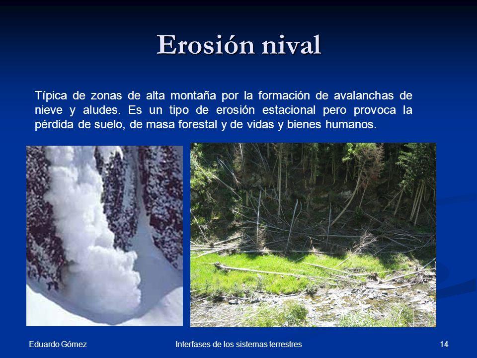 Eduardo Gómez 14Interfases de los sistemas terrestres Erosión nival Típica de zonas de alta montaña por la formación de avalanchas de nieve y aludes.
