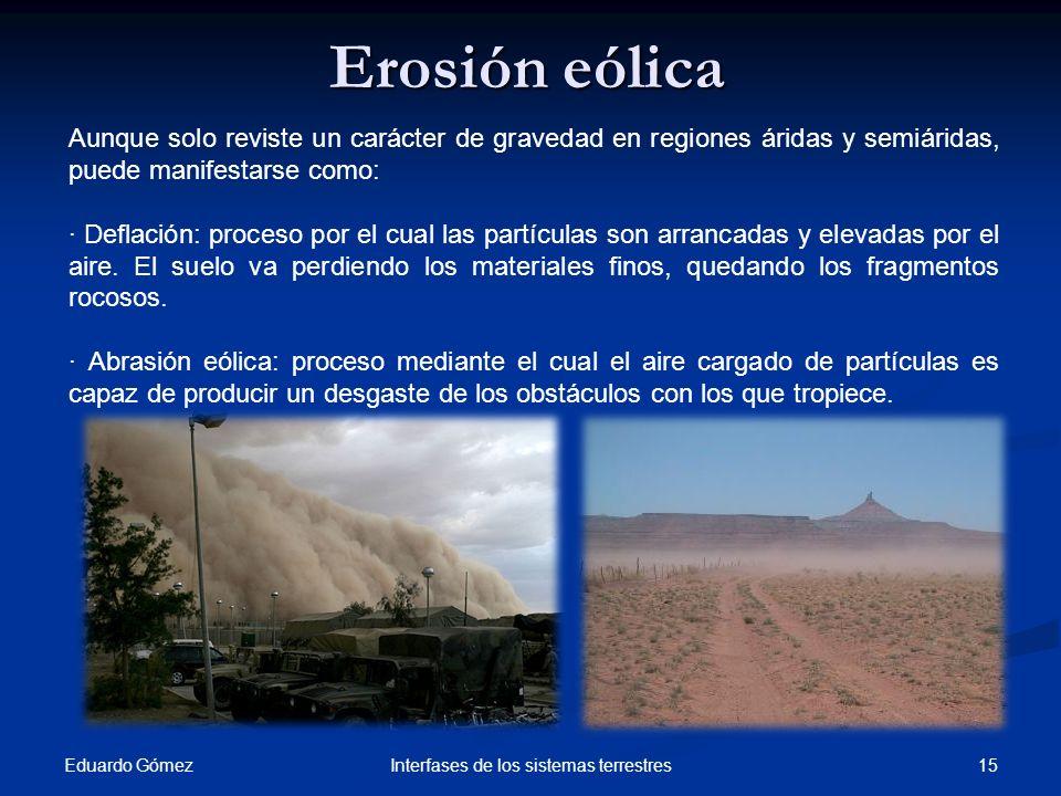 Eduardo Gómez 15Interfases de los sistemas terrestres Aunque solo reviste un carácter de gravedad en regiones áridas y semiáridas, puede manifestarse