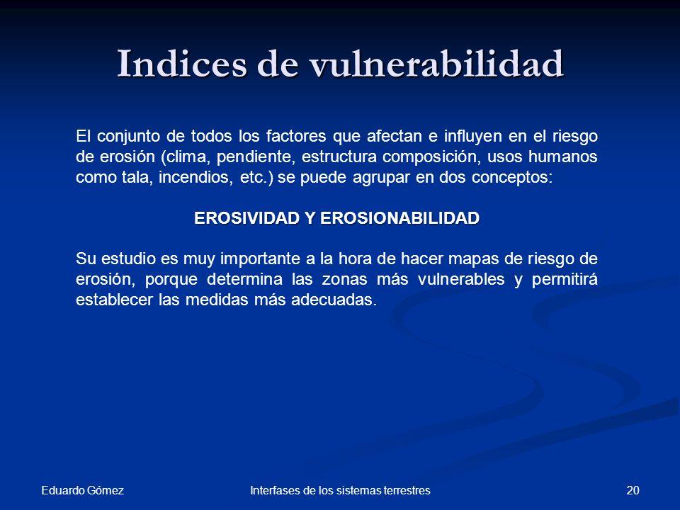 Eduardo Gómez 20Interfases de los sistemas terrestres Indices de vulnerabilidad El conjunto de todos los factores que afectan e influyen en el riesgo