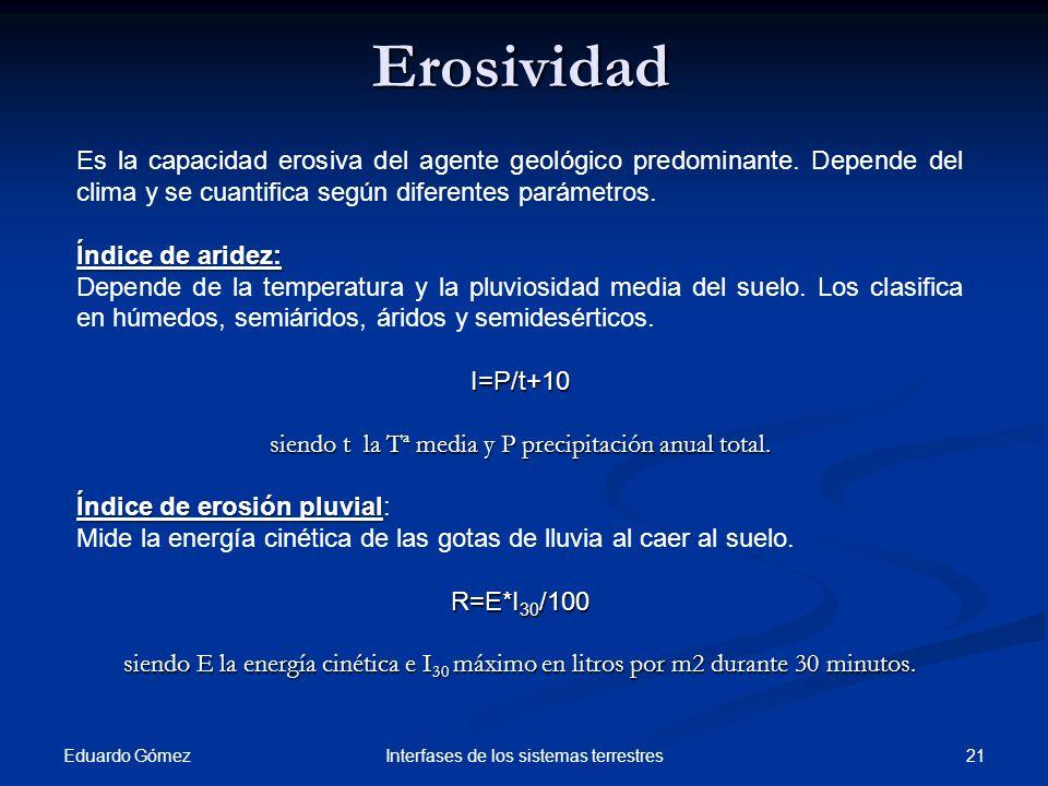 Erosividad Eduardo Gómez 21Interfases de los sistemas terrestres Es la capacidad erosiva del agente geológico predominante. Depende del clima y se cua
