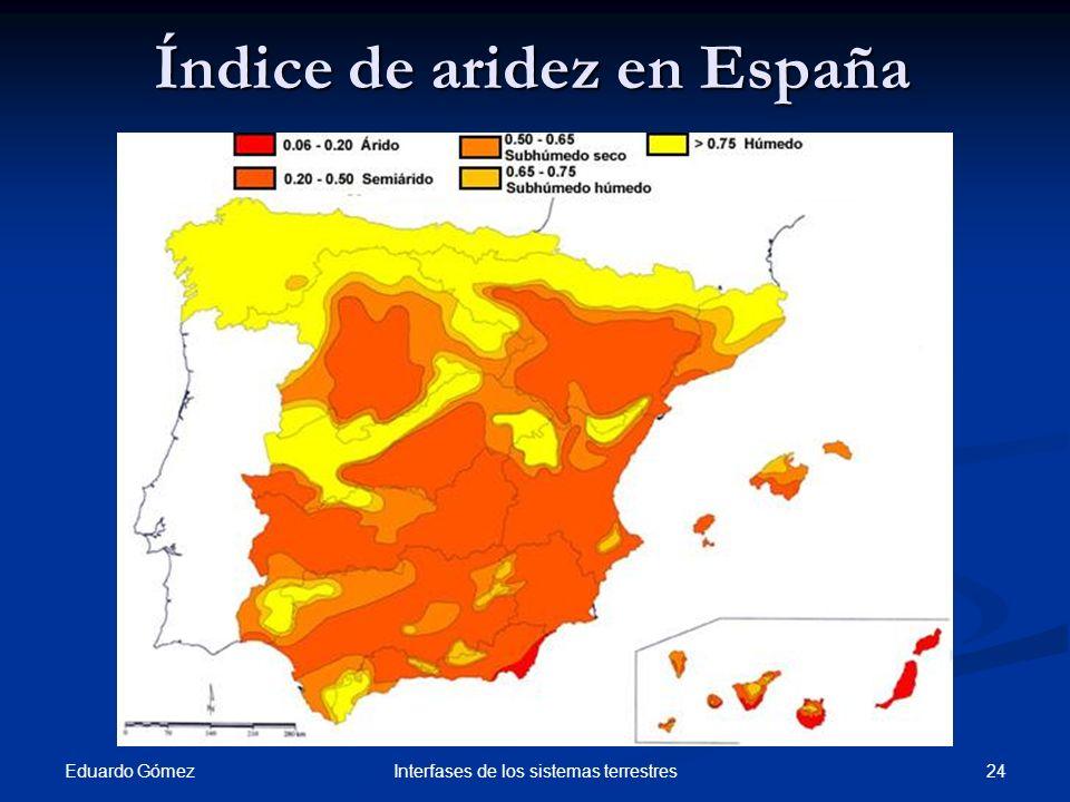 Índice de aridez en España Eduardo Gómez 24Interfases de los sistemas terrestres