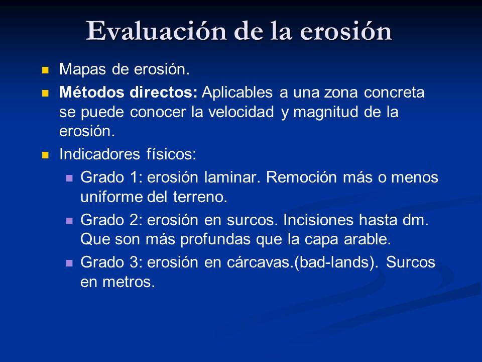 Evaluación de la erosión Mapas de erosión. Métodos directos: Aplicables a una zona concreta se puede conocer la velocidad y magnitud de la erosión. In