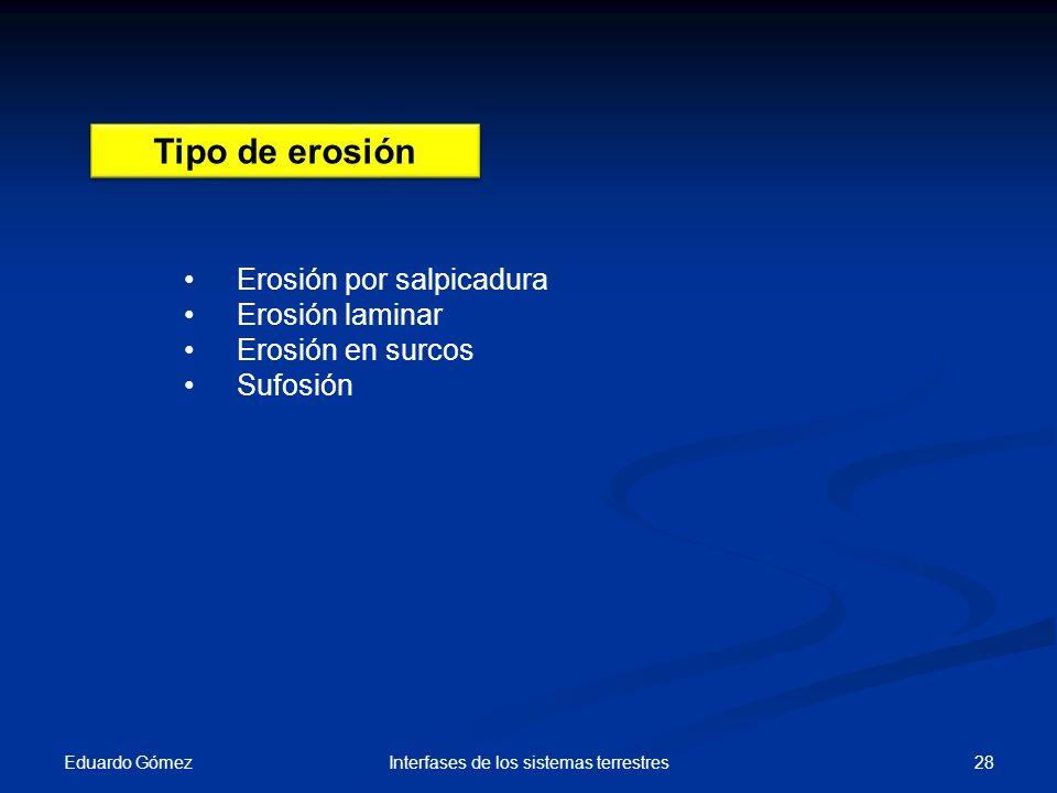 Eduardo Gómez 28Interfases de los sistemas terrestres Tipo de erosión Erosión por salpicadura Erosión laminar Erosión en surcos Sufosión