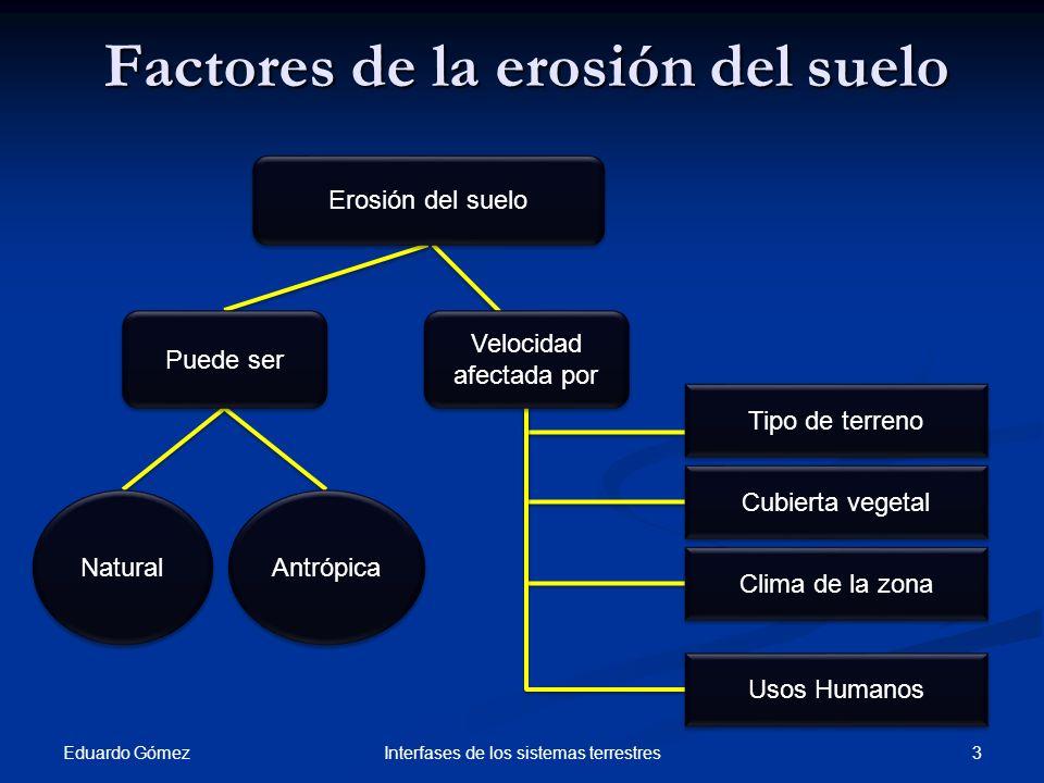 Erosión natural Eduardo Gómez 4 Interfases de los sistemas terrestres Erosión natural HídricaSalpicadurasLaminarReguerosSufosiónNivalEólicaPor gravedad