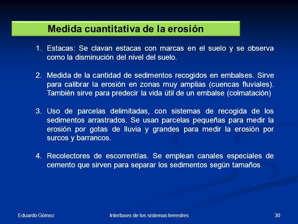 Eduardo Gómez 30Interfases de los sistemas terrestres Medida cuantitativa de la erosión 1.Estacas: Se clavan estacas con marcas en el suelo y se obser