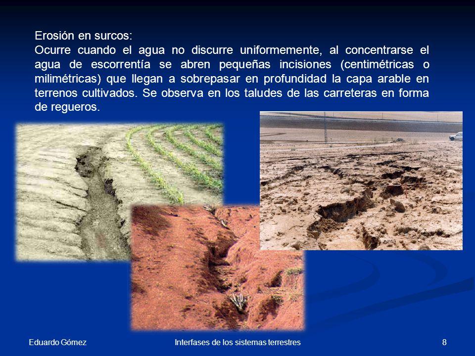 Eduardo Gómez 8Interfases de los sistemas terrestres Erosión en surcos: Ocurre cuando el agua no discurre uniformemente, al concentrarse el agua de es