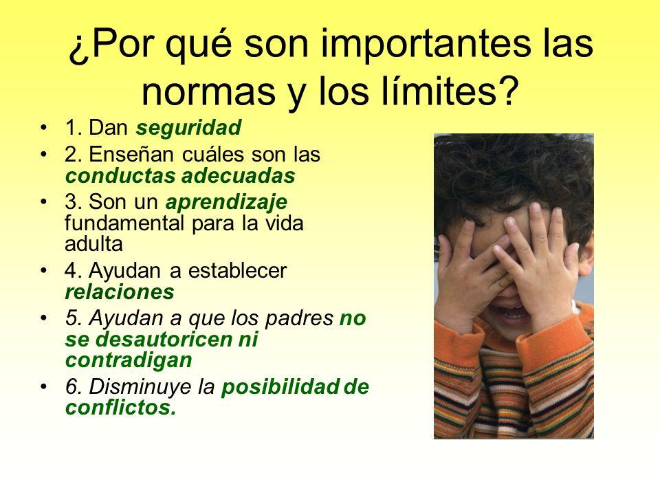 ¿Por qué son importantes las normas y los límites? 1. Dan seguridad 2. Enseñan cuáles son las conductas adecuadas 3. Son un aprendizaje fundamental pa