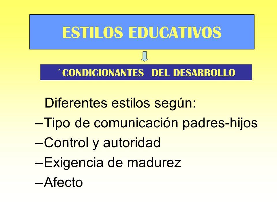 Diferentes estilos según: –Tipo de comunicación padres-hijos –Control y autoridad –Exigencia de madurez –Afecto ESTILOS EDUCATIVOS ´CONDICIONANTES DEL