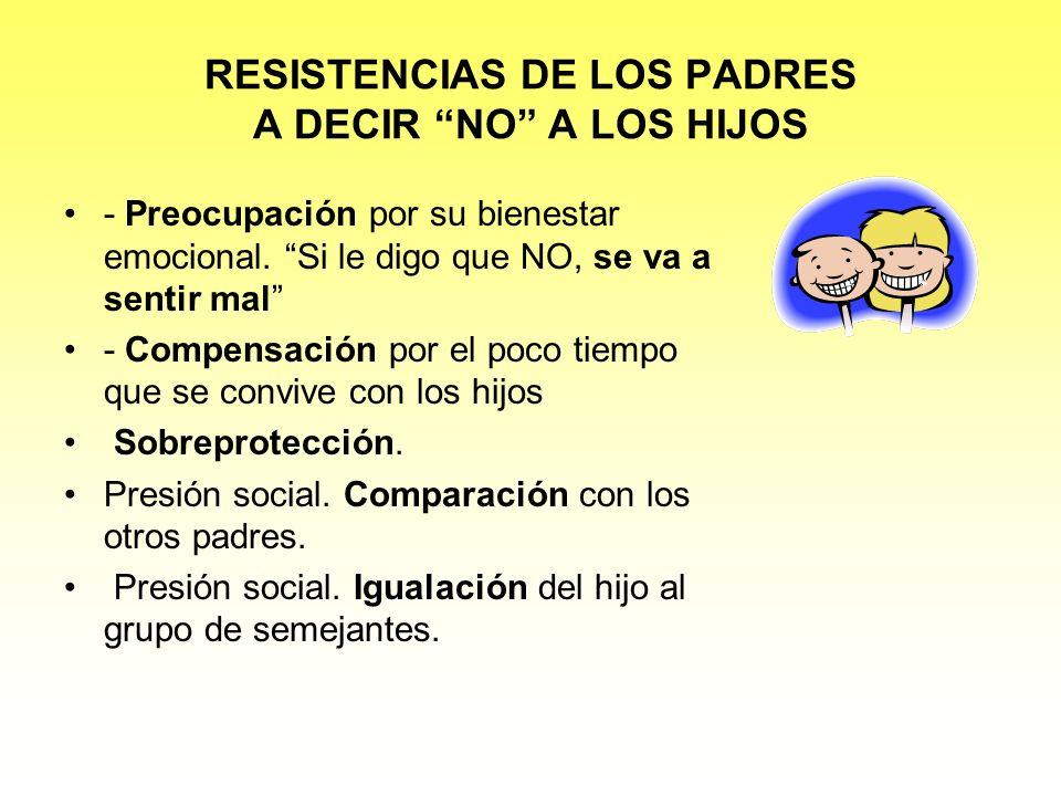 RESISTENCIAS DE LOS PADRES A DECIR NO A LOS HIJOS - Preocupación por su bienestar emocional. Si le digo que NO, se va a sentir mal - Compensación por