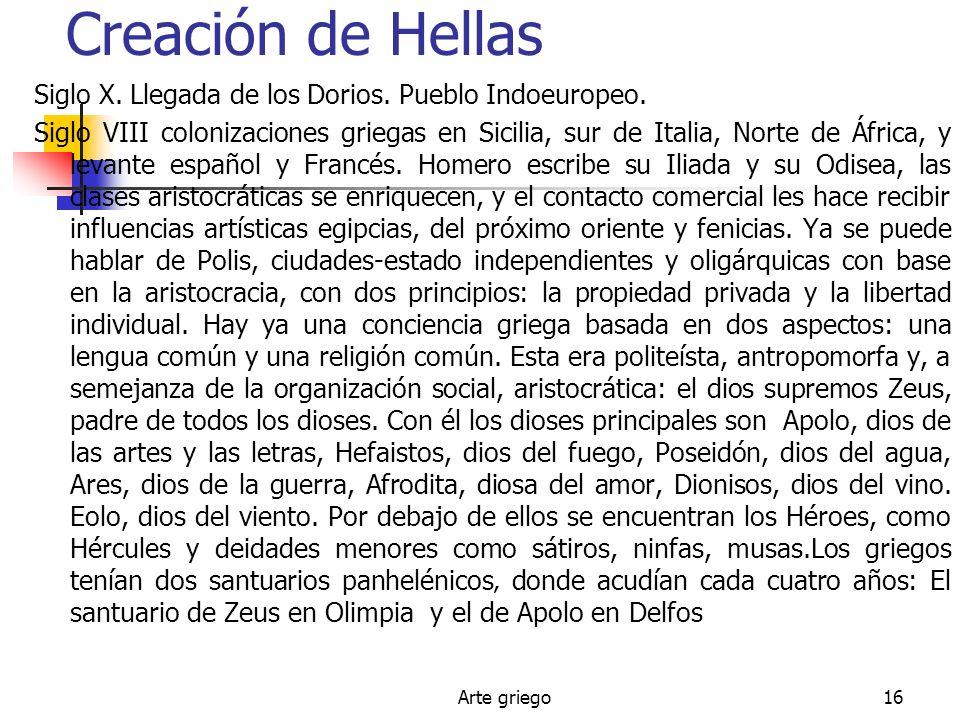 Arte griego16 Creación de Hellas Siglo X. Llegada de los Dorios. Pueblo Indoeuropeo. Siglo VIII colonizaciones griegas en Sicilia, sur de Italia, Nort