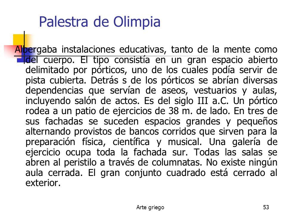 Arte griego53 Palestra de Olimpia Albergaba instalaciones educativas, tanto de la mente como del cuerpo. El tipo consistía en un gran espacio abierto
