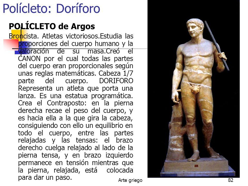 Arte griego82 Polícleto: Doríforo POLÍCLETO de Argos Broncista. Atletas victoriosos.Estudia las proporciones del cuerpo humano y la valoración de su m