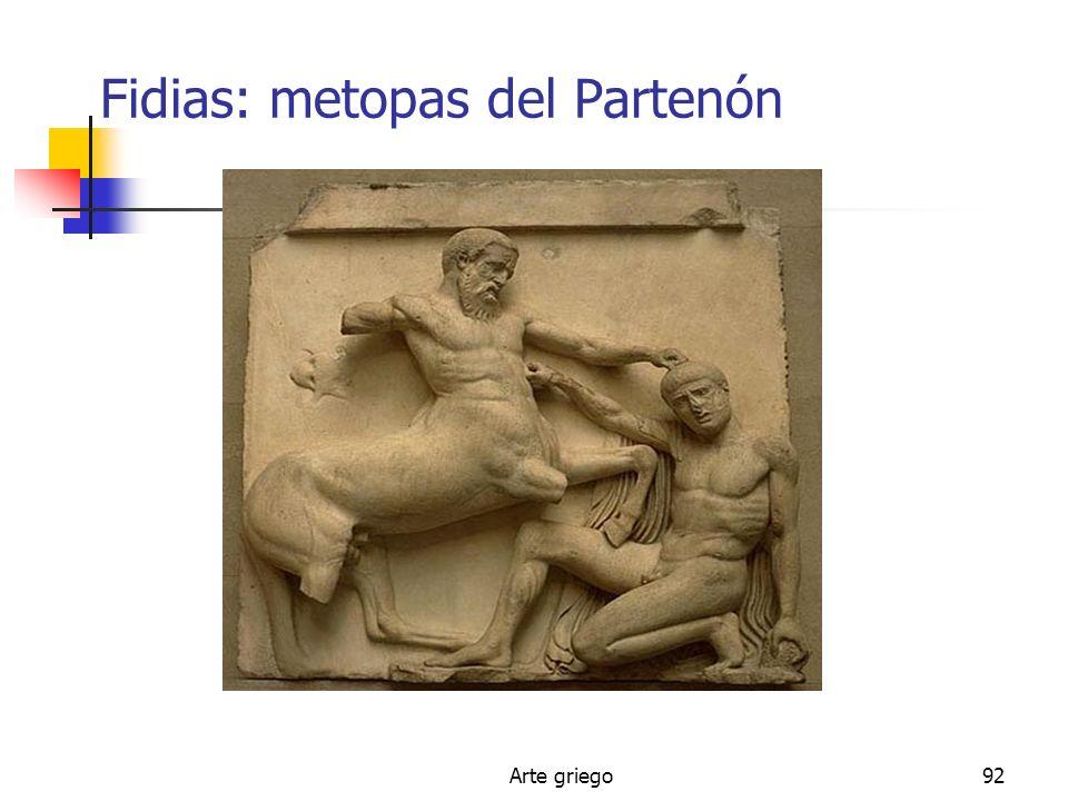 Arte griego92 Fidias: metopas del Partenón