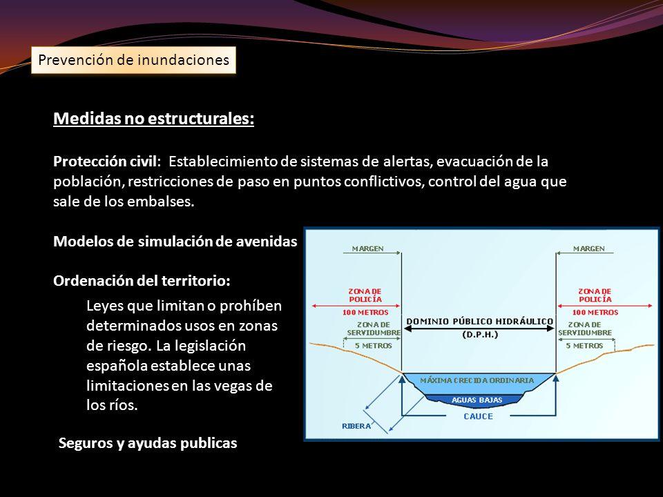 Prevención de inundaciones Medidas no estructurales: Protección civil: Establecimiento de sistemas de alertas, evacuación de la población, restriccion