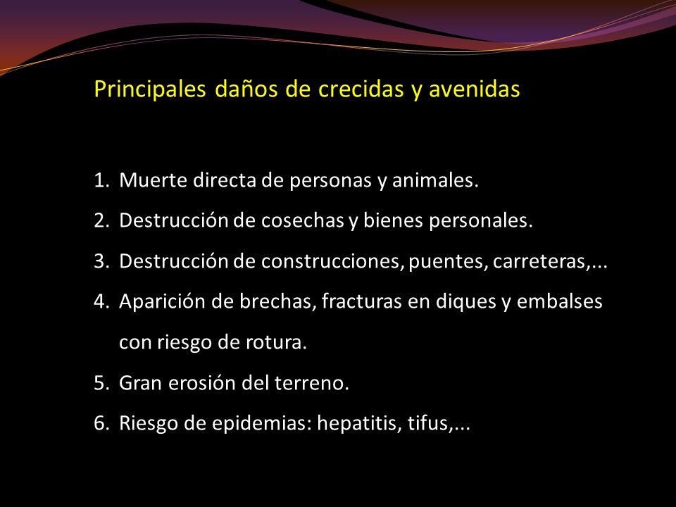 Principales daños de crecidas y avenidas 1.Muerte directa de personas y animales. 2.Destrucción de cosechas y bienes personales. 3.Destrucción de cons