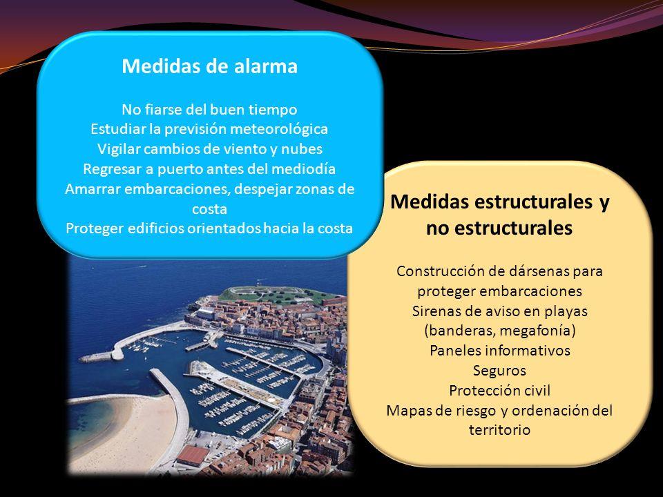 Medidas estructurales y no estructurales Construcción de dársenas para proteger embarcaciones Sirenas de aviso en playas (banderas, megafonía) Paneles