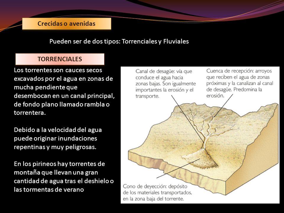 Crecidas o avenidas Pueden ser de dos tipos: Torrenciales y Fluviales TORRENCIALES Los torrentes son cauces secos excavados por el agua en zonas de mu
