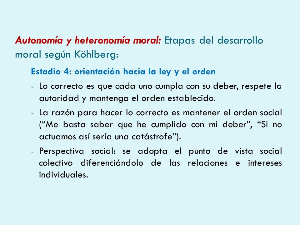 Autonomía y heteronomía moral: Etapas del desarrollo moral según Köhlberg: Estadio 4: orientación hacia la ley y el orden - Lo correcto es que cada un