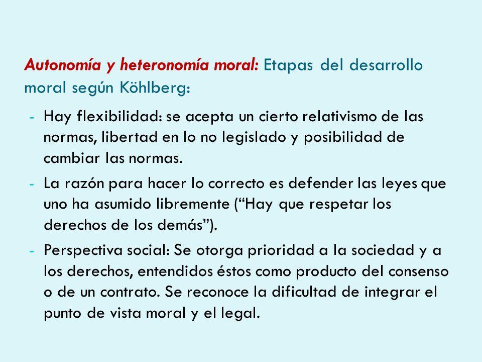 Autonomía y heteronomía moral: Etapas del desarrollo moral según Köhlberg: - Hay flexibilidad: se acepta un cierto relativismo de las normas, libertad