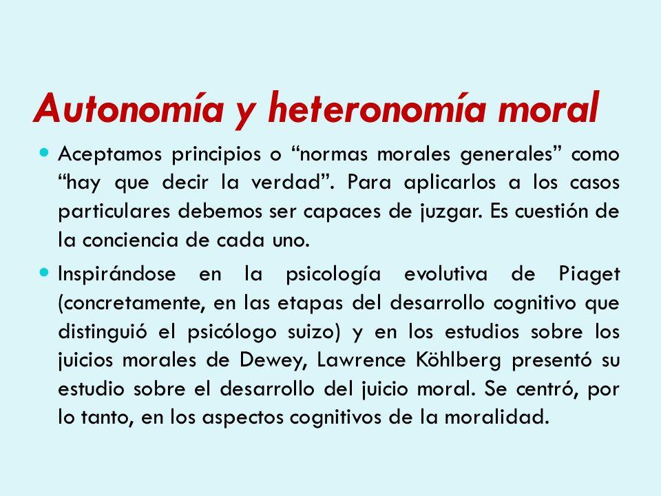 Autonomía y heteronomía moral Köhlberg presentaba dilemas morales –casos en los que tomar una decisión resultaba conflictivo- y clasificaba los distintos tipos de respuesta que daban las personas.