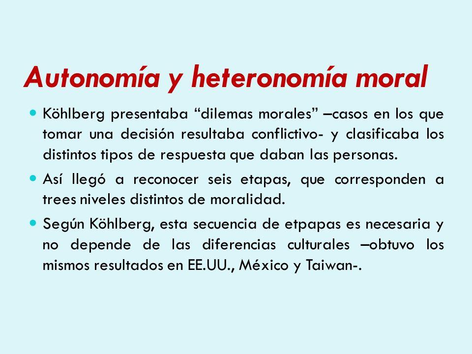 Autonomía y heteronomía moral Köhlberg presentaba dilemas morales –casos en los que tomar una decisión resultaba conflictivo- y clasificaba los distin