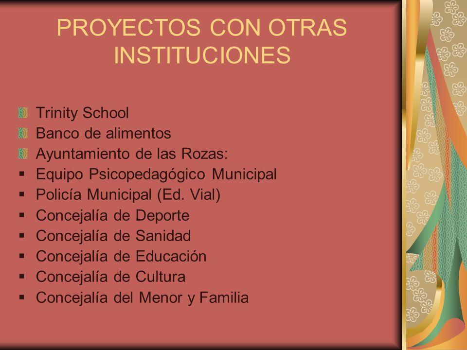 PROYECTOS CON OTRAS INSTITUCIONES Trinity School Banco de alimentos Ayuntamiento de las Rozas: Equipo Psicopedagógico Municipal Policía Municipal (Ed.