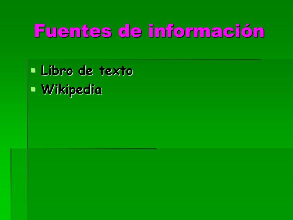 Fuentes de información Libro de texto Libro de texto Wikipedia Wikipedia
