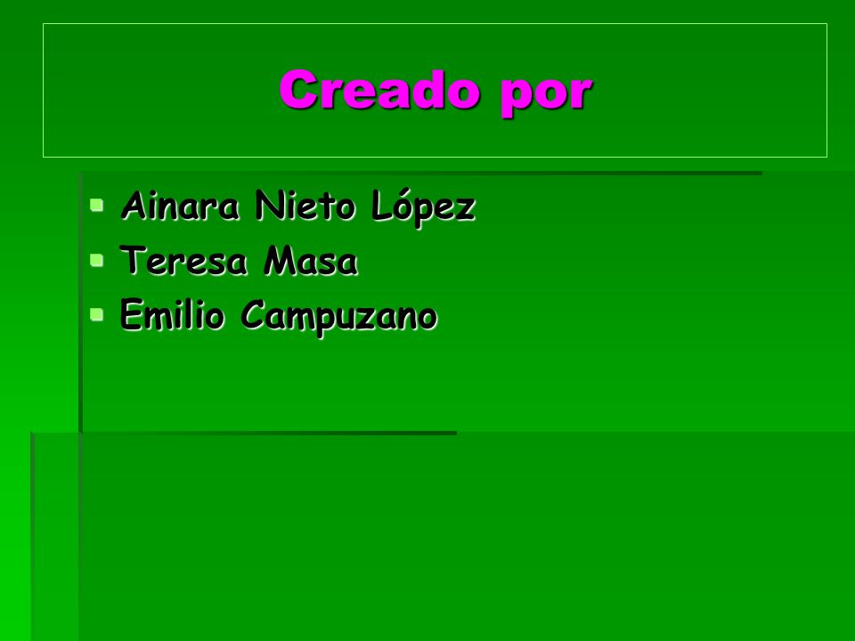 Creado por Ainara Nieto López Ainara Nieto López Teresa Masa Teresa Masa Emilio Campuzano Emilio Campuzano