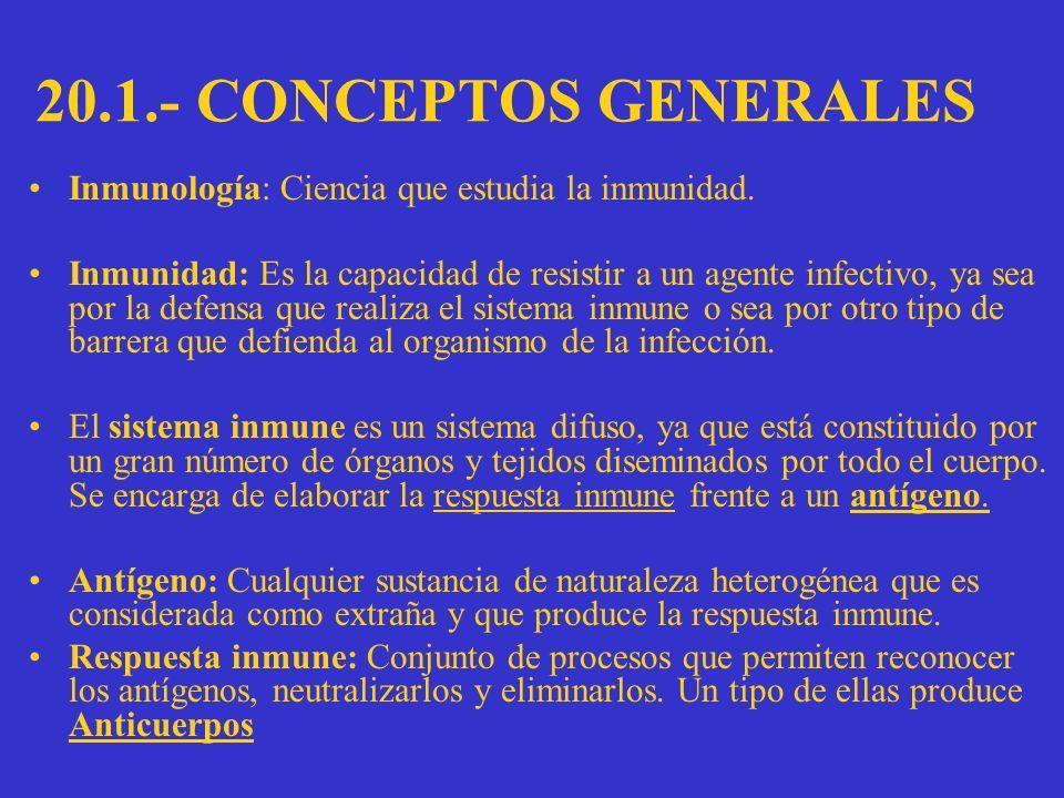 20.1.- CONCEPTOS GENERALES Inmunología: Ciencia que estudia la inmunidad.