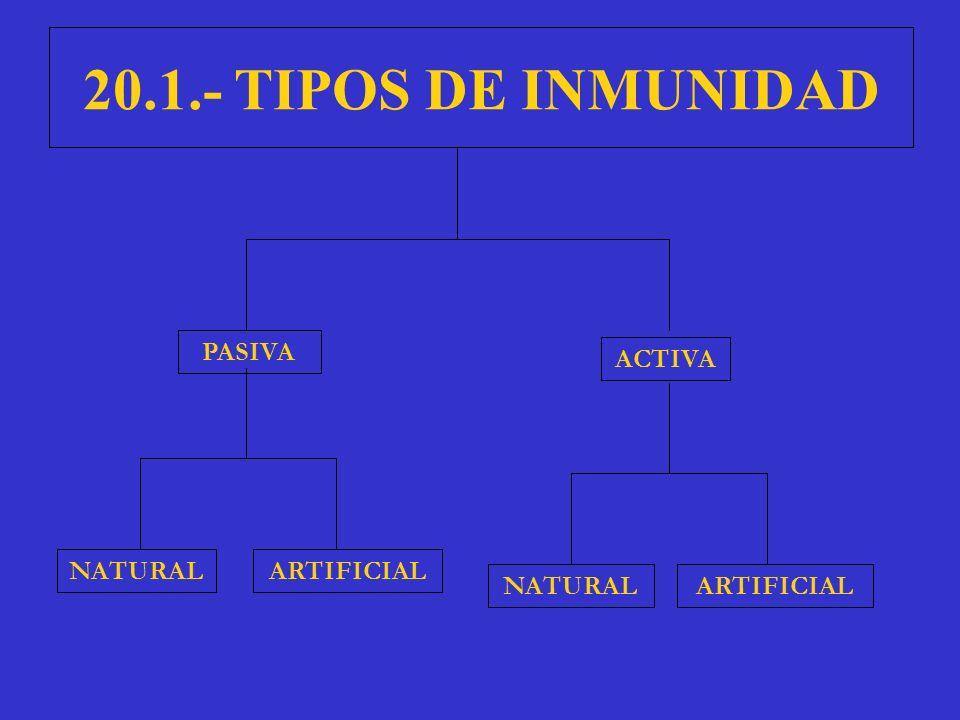 20.1.- TIPOS DE INMUNIDAD PASIVA ACTIVA ARTIFICIALNATURAL ARTIFICIAL