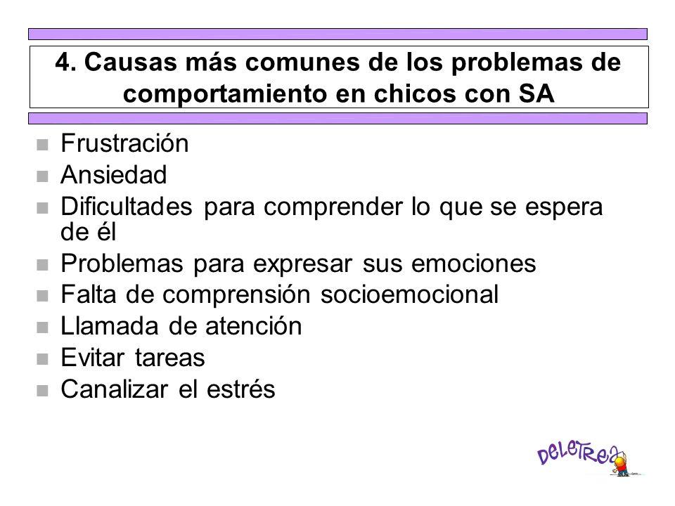 4. Causas más comunes de los problemas de comportamiento en chicos con SA n Frustración n Ansiedad n Dificultades para comprender lo que se espera de