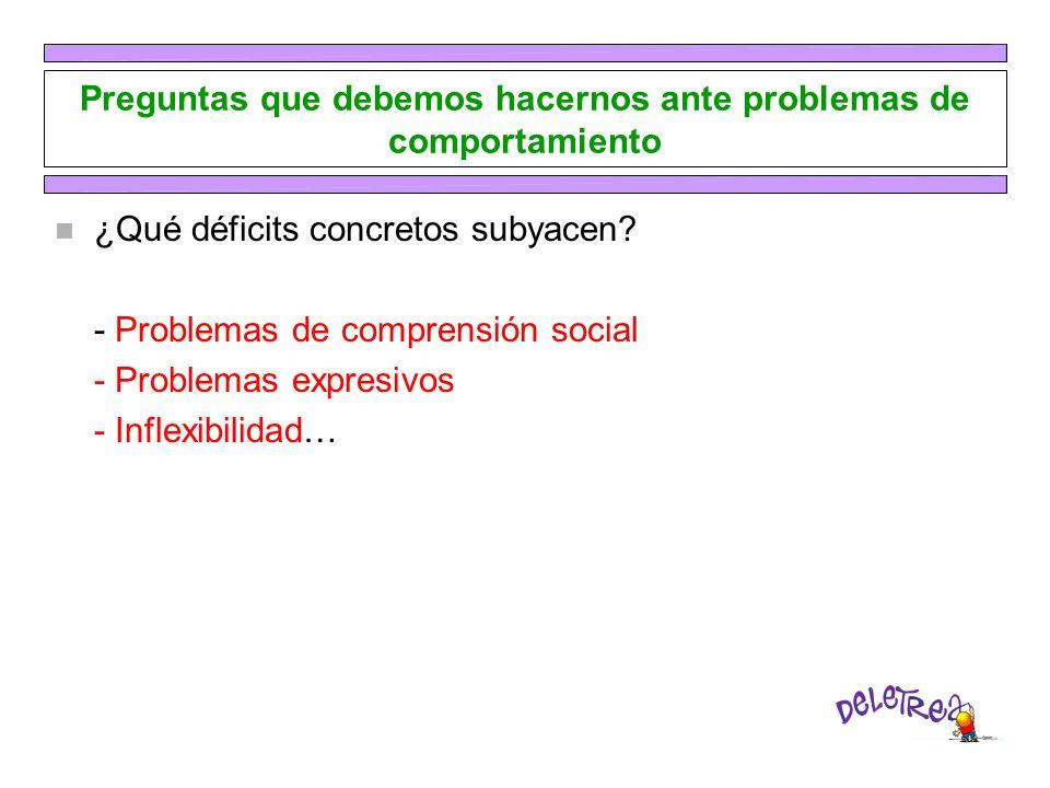 Preguntas que debemos hacernos ante problemas de comportamiento n ¿Qué déficits concretos subyacen? - Problemas de comprensión social - Problemas expr