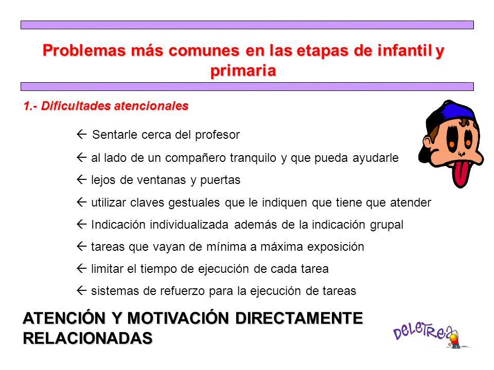 Problemas más comunes en las etapas de infantil y primaria 1.- Dificultades atencionales Sentarle cerca del profesor al lado de un compañero tranquilo