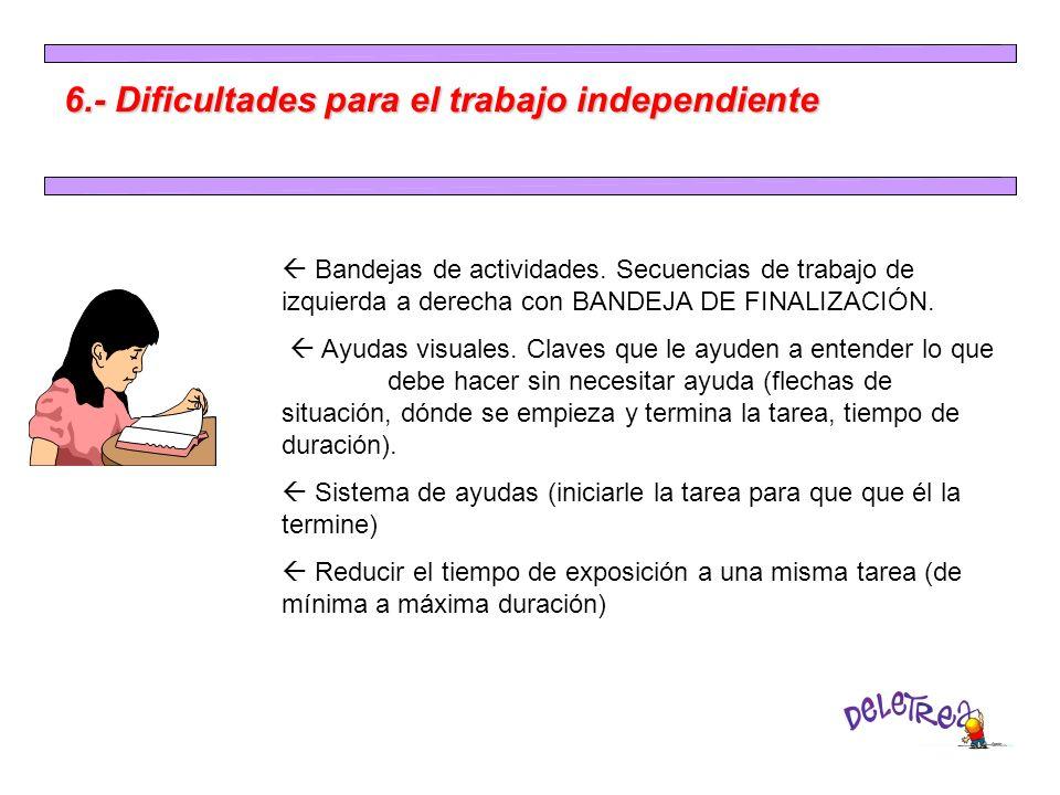 6.- Dificultades para el trabajo independiente Bandejas de actividades. Secuencias de trabajo de izquierda a derecha con BANDEJA DE FINALIZACIÓN. Ayud