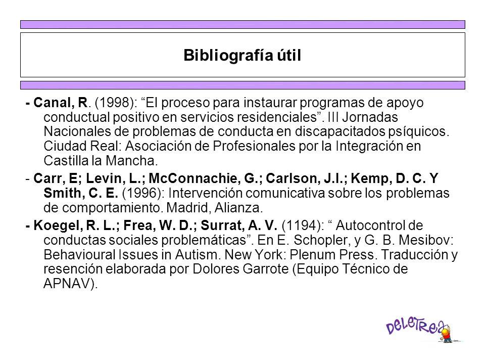 Bibliografía útil - Canal, R. (1998): El proceso para instaurar programas de apoyo conductual positivo en servicios residenciales. III Jornadas Nacion