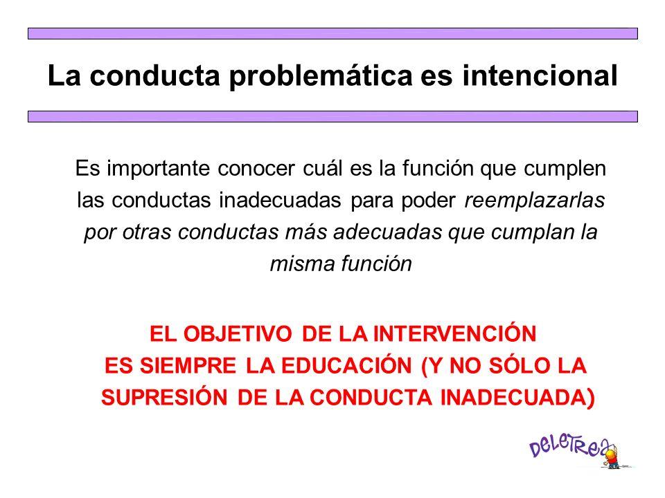 La conducta problemática es intencional Es importante conocer cuál es la función que cumplen las conductas inadecuadas para poder reemplazarlas por ot
