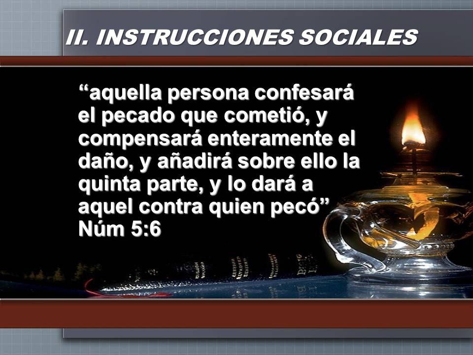II. INSTRUCCIONES SOCIALES aquella persona confesará el pecado que cometió, y compensará enteramente el daño, y añadirá sobre ello la quinta parte, y