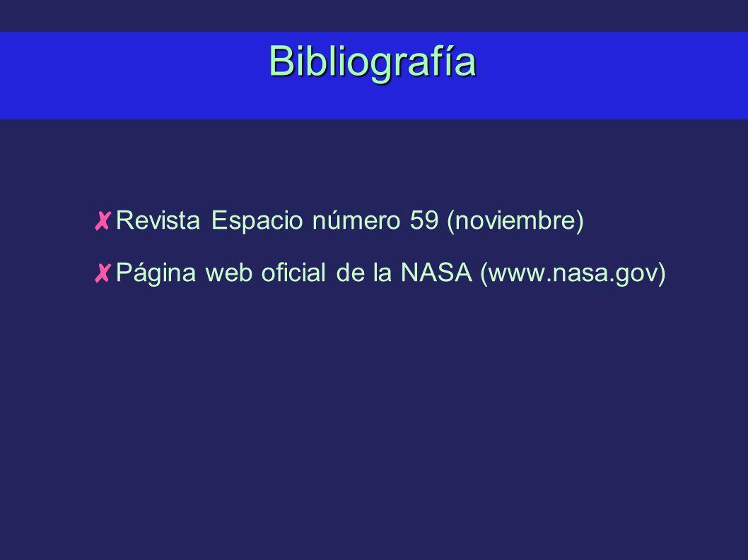 Bibliografía Revista Espacio número 59 (noviembre) Página web oficial de la NASA (www.nasa.gov)
