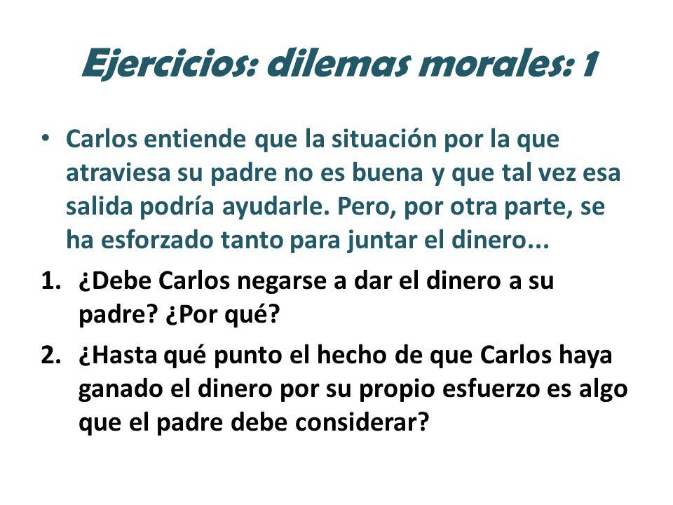 Ejercicios: dilemas morales: 1 Carlos entiende que la situación por la que atraviesa su padre no es buena y que tal vez esa salida podría ayudarle.