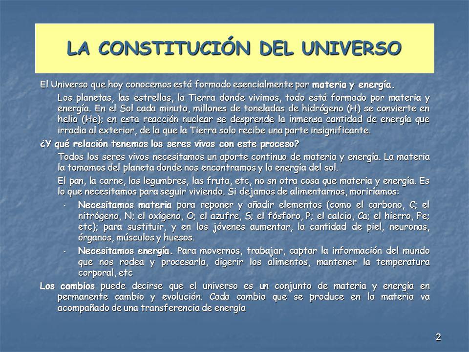 2 LA CONSTITUCIÓN DEL UNIVERSO El Universo que hoy conocemos está formado esencialmente por materia y energía. Los planetas, las estrellas, la Tierra