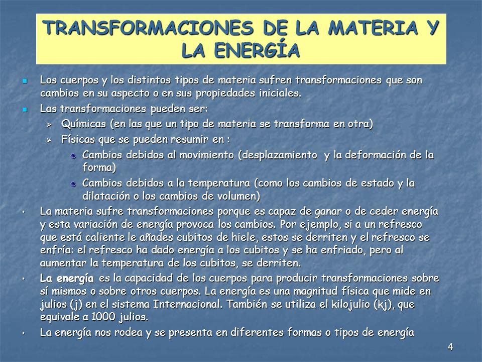 4 TRANSFORMACIONES DE LA MATERIA Y LA ENERGÍA Los cuerpos y los distintos tipos de materia sufren transformaciones que son cambios en su aspecto o en