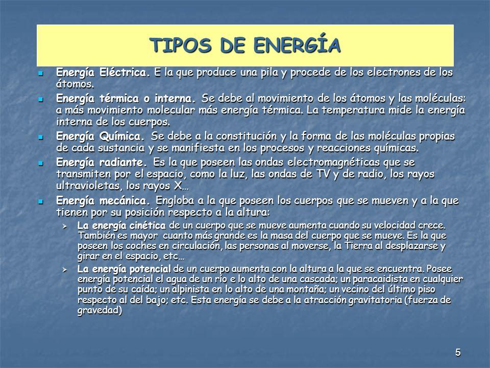5 TIPOS DE ENERGÍA Energía Eléctrica. E la que produce una pila y procede de los electrones de los átomos. Energía Eléctrica. E la que produce una pil