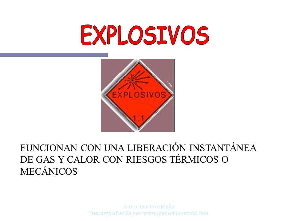 Autor: Gustavo Mejia Descarga ofrecida por: www.prevention-world.com FUNCIONAN CON UNA LIBERACIÓN INSTANTÁNEA DE GAS Y CALOR CON RIESGOS TÉRMICOS O ME