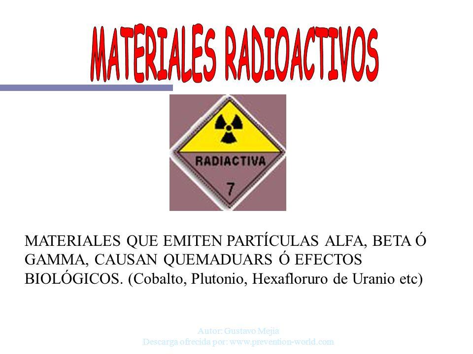 Autor: Gustavo Mejia Descarga ofrecida por: www.prevention-world.com MATERIALES QUE EMITEN PARTÍCULAS ALFA, BETA Ó GAMMA, CAUSAN QUEMADUARS Ó EFECTOS