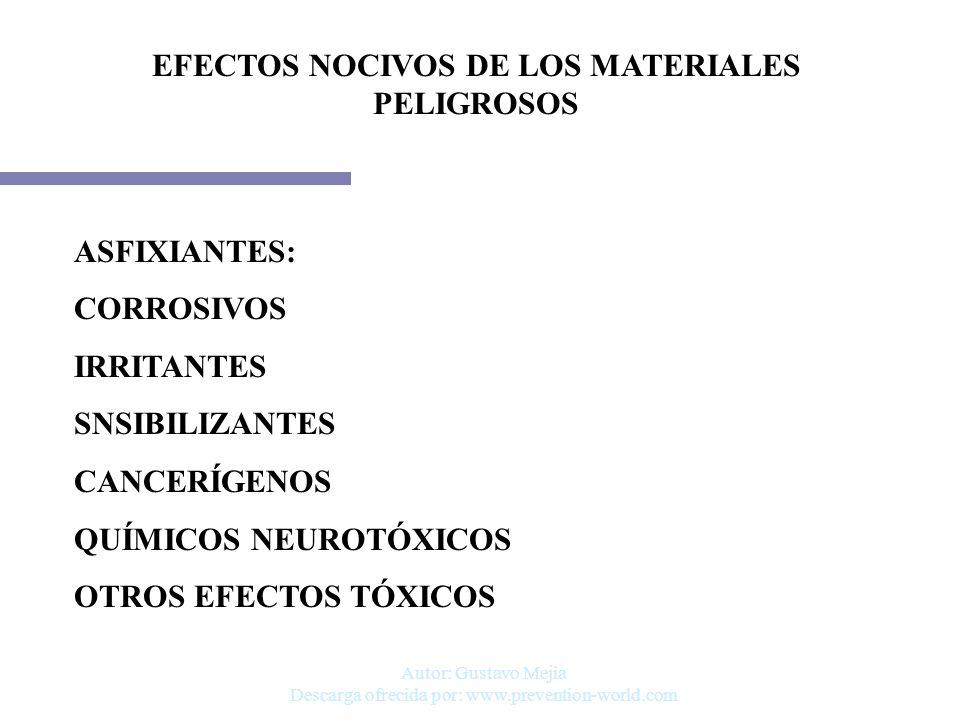 Autor: Gustavo Mejia Descarga ofrecida por: www.prevention-world.com EFECTOS NOCIVOS DE LOS MATERIALES PELIGROSOS ASFIXIANTES: CORROSIVOS IRRITANTES S