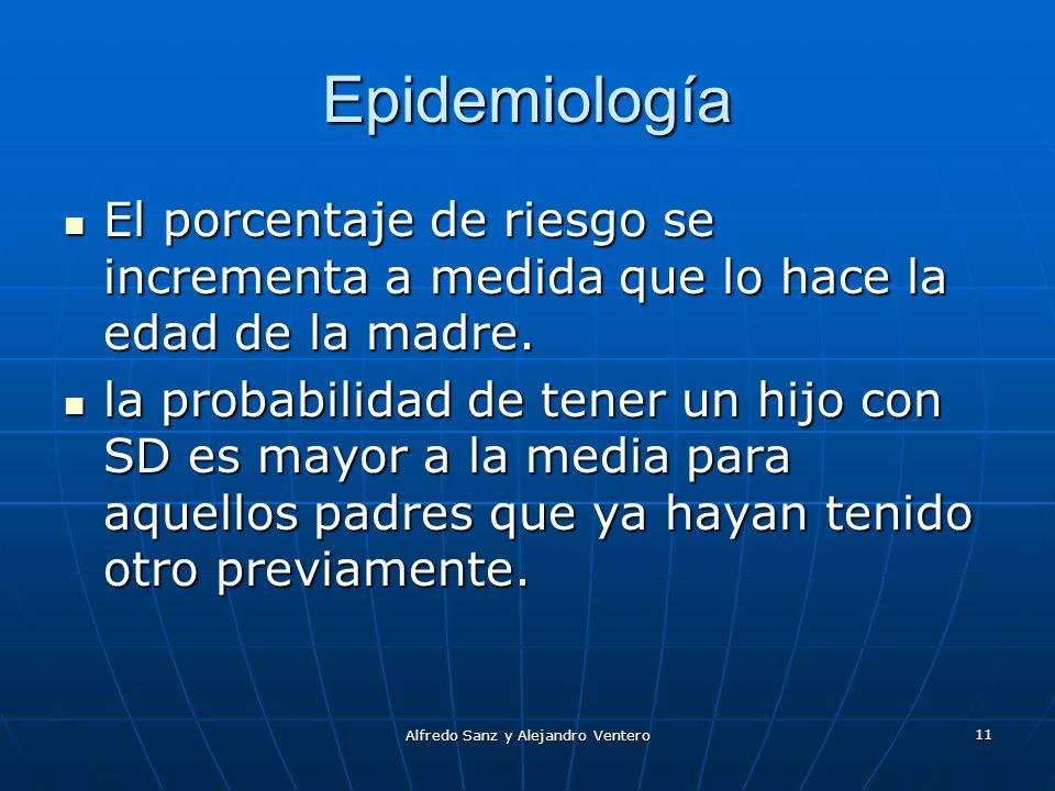 Alfredo Sanz y Alejandro Ventero 11 Epidemiología El porcentaje de riesgo se incrementa a medida que lo hace la edad de la madre. El porcentaje de rie